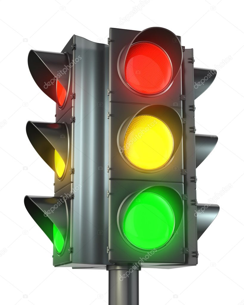 Four sided traffic light with red, yellow and green lights isolated on white background  Stock Photo #8643538