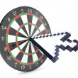 Arrow cursor hits dartboard — Stock Photo #8886769