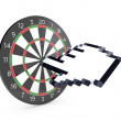 Hand cursor hits dartboard — Stock Photo #8886778