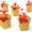 A lot of carton boxes with red hearts flying out of them — Stock Photo