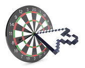 Arrow cursor hits the dartboard — Stock Photo