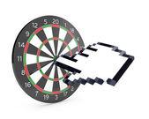 Hand cursor hits the dartboard — Stock Photo