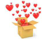 Carton box with a lot of flying out hearts — Stock Photo