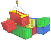Accident on container trapnsortation — Stock Photo