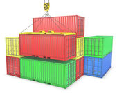 Group of freight containers — Stock Photo
