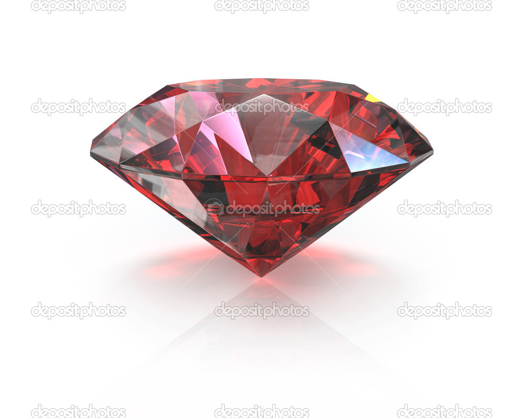 Round cut ruby, isolated on white background — Stock Photo #9546677