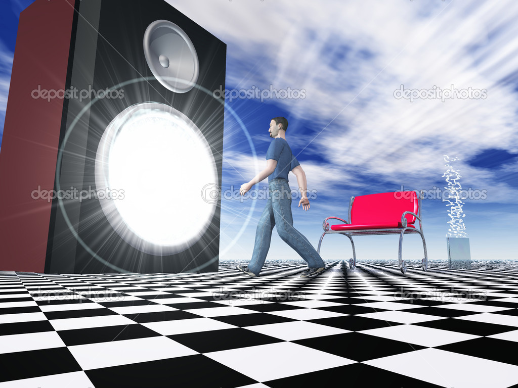 3D rendering of a man walking into a giant speaker — Stock Photo #8949792