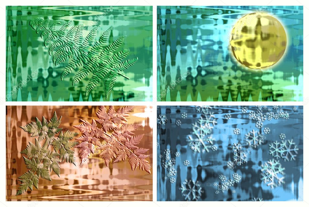 Background collage showing four seasons that can be used separately  Stock Photo #8949824