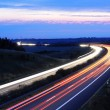 Night traffic on highway — Foto Stock