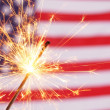 Sparkler and usa flag — Stock Photo #8267462