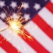 Sparkler and usa flag — Stock fotografie #9297437