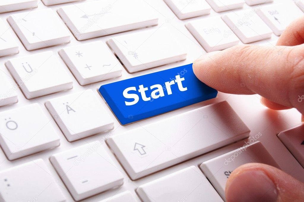 Start concept with button or key showing business success concept  Stock Photo #9297538