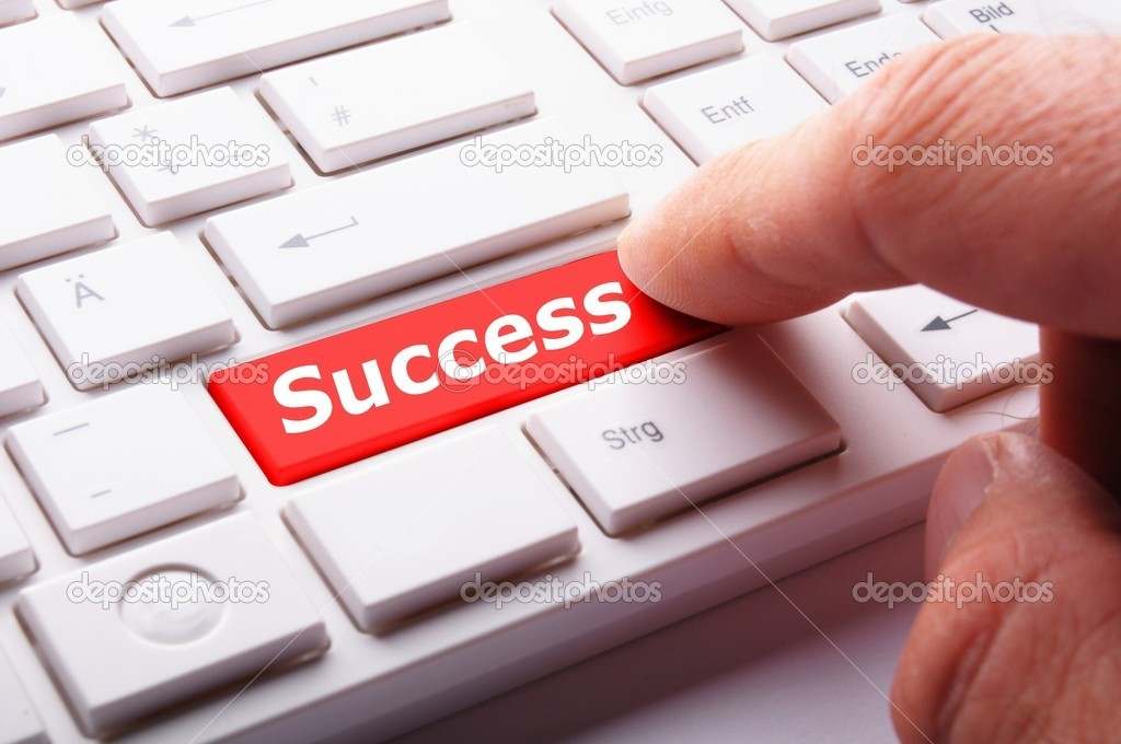 Success word on button or key showing motivation for job or business — 图库照片 #9297539