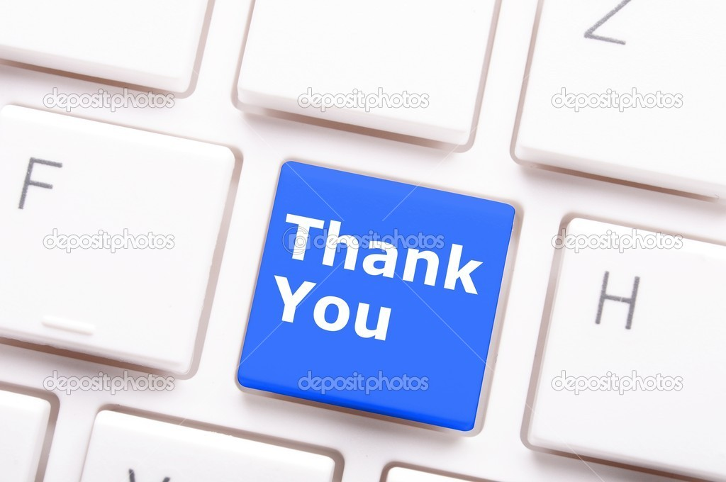 Thank you or thanks concept with key on keyboard  Stock Photo #9297550