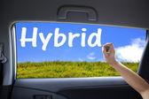 Hand drawing hybrid on the car windows — Stock Photo