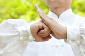 Hand of master making gestures for kung fu — Stock Photo