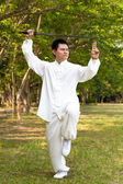 Chinese kung fu with sword — Stock Photo