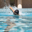 Man in the Swimming pool with free style — Stockfoto