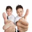 Two happy asian businessman with thumbs up — Stock Photo