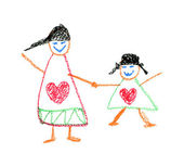 Child's Drawing by crayon. The Mother's Day — Stock Photo