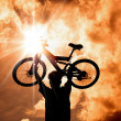 The Silhouette of mountain biker raised bicycle with sunset and cloud background — ストック写真