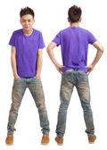 Front and back of asian young man standing isolated on white — Stock Photo