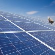 Close up solar panel and professional worker installing photovoltaic solar — Stock Photo