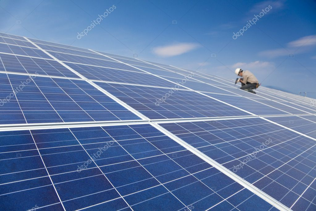 Close up solar panel and professional worker installing photovoltaic solar panels  Stock Photo #8344612