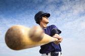 Baseball player hitting — Stock Photo