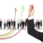 Рисунок бизнес графа цвета мела руку — Стоковое фото