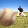Baseball player ready catching the fast ball — Stock Photo
