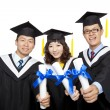 Graduation students isolated on white background — Stock Photo #8887848