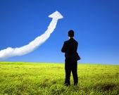 Affärsman står på fältet och titta på tillväxt diagram moln — Stockfoto