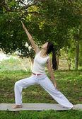 Yoga woman on green grass — Stock Photo