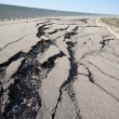Cracked road after earthquake — Stock Photo