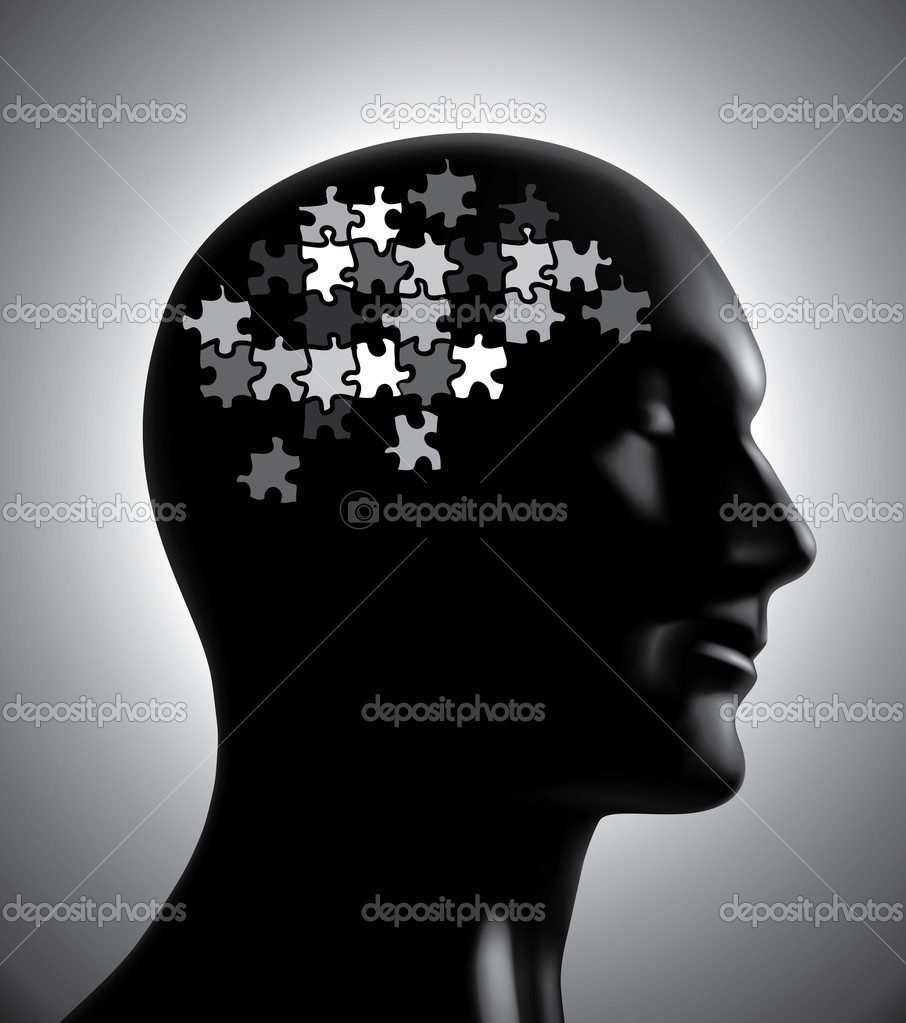 Brainstorm puzzle head illustration for design — Imagen vectorial #10433328