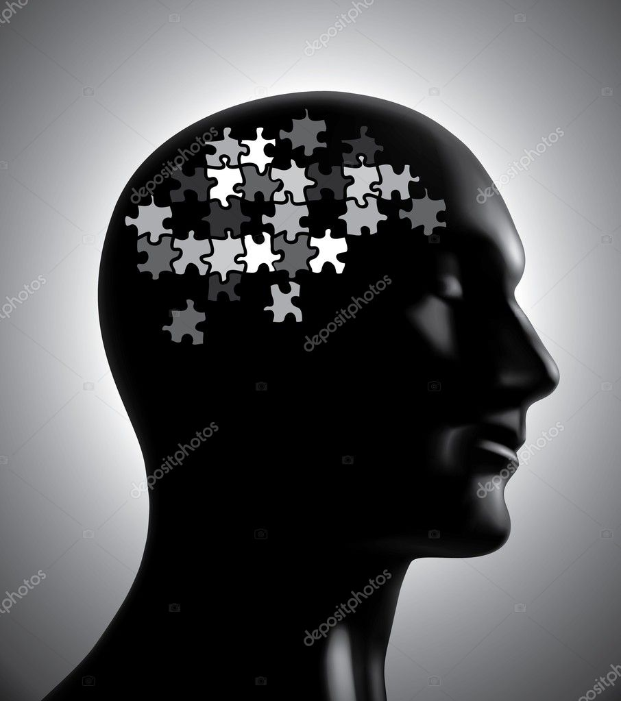 Brainstorm puzzle head illustration for design — Stok Vektör #10433328
