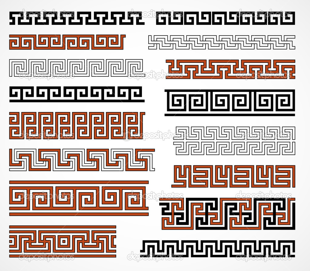 Set of ancient greek style borders for design — Stock Vector #10433333