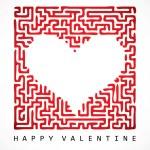 Valentine card- maze heart — Stock Vector