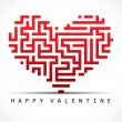 Valentine card- maze heart - Stock Vector