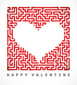 Valentine card- maze heart — Vector de stock