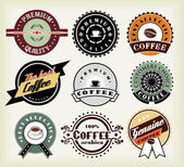 Set van koffie etiketten en badges — Stockvector