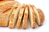 Bread with a sesame, over white — Stock Photo