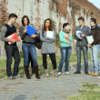 Multiethnic students to park — Stock Photo #10364910