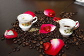 Cups of coffee and rose petals — Stock Photo