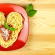 I love Pasta / Spaghetti on a plate and wooden table / Heart Sh — Stock Photo