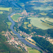 Aerial view of countryside with forests, river and farmland — Stock Photo