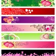 Vettoriale Stock : Love & hearts website banners / vector / set #1