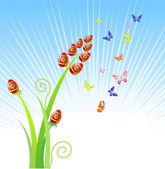 Easter eggs-flowers / with butterfly / vector — Stok Vektör