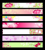 Love & hearts website banners / vector / set #2 — Stock Vector